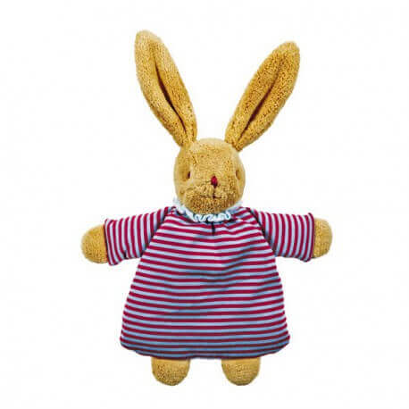TROUSSELIER - Peluche lapin nid d'ange hochet rayures