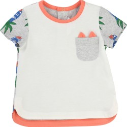 LITTLE MARC JACOBS - T-shirt corail et gris