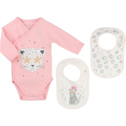 LITTLE MARC JACOBS - Ensemble body et bavoirs rose et blanc
