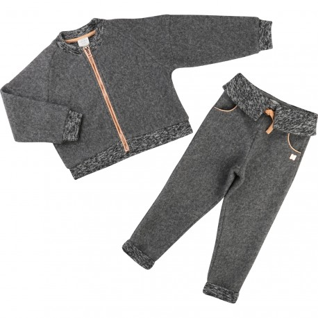 CARREMENT BEAU - Ensemble cardigan et pantalon gris