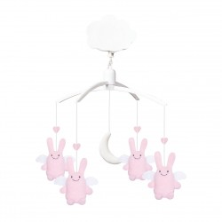TROUSSELIER - Mobile musical ange lapin rose